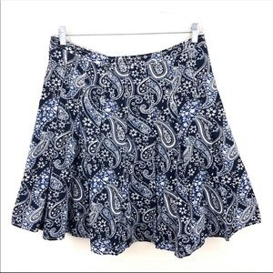 Tommy Hilfiger A-Line Pleated Paisley Skirt